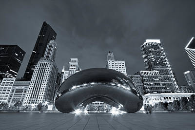Cloud Gate Photograph - Cloud Gate And Skyline - Blue Toned by Adam Romanowicz