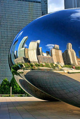 Chicago Reflections Painting - Cloud Gate Bean by Christopher Arndt