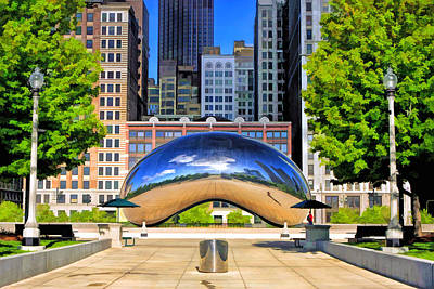 Chicago Reflections Painting - Cloud Gate Park by Christopher Arndt