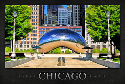 Chicago Reflections Painting - Cloud Gate Park Poster by Christopher Arndt