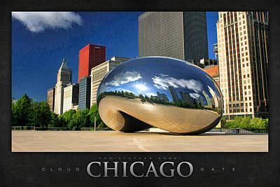 Chicago Reflections Painting - Cloud Gate Skyscraper Poster by Christopher Arndt