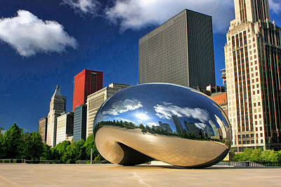 Chicago Reflections Painting - Cloud Gate Skyscrapers by Christopher Arndt