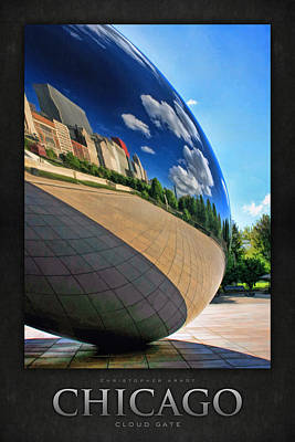 Chicago Reflections Painting - Cloud Gate Teardrop Poster by Christopher Arndt