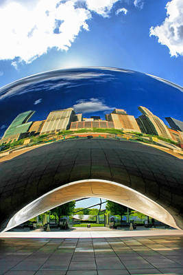 Chicago Reflections Painting - Cloud Gate Under The Bean by Christopher Arndt