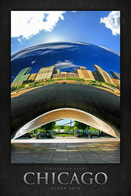 Chicago Reflections Painting - Cloud Gate Under The Bean Poster by Christopher Arndt