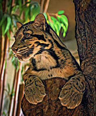 Clouded Leopard Photograph - Clouded Leopard - Paint by Steve Harrington