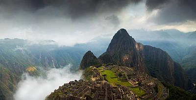 Clouds About To Envelop Machu Picchu Print by Alison Buttigieg