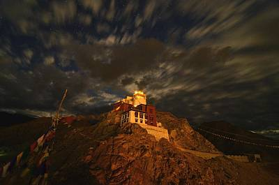 Clouds And Stars Over Tsemo Print by Aaron S Bedell
