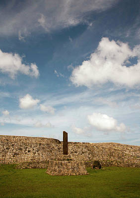 Clouds Drift Over The Stone Walled Print by Dave Bartruff
