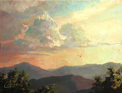 Tuscan Sunset Painting - Clouds Over Genova Italy by Christopher Clark
