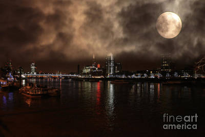 Code Mixed Media - Clouds Over The River Thames by Doc Braham