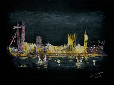 London Eye Painting - Clouds Over Westminster by Andrew Roy Thackeray