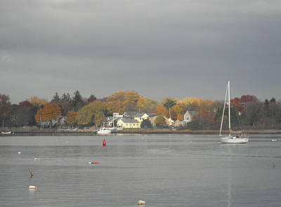 Cloudy Autumn Day On Wickford Harbor Print by Kate Gallagher