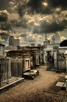 Cloudy Day At St. Louis Cemetery Print by Chrystal Mimbs