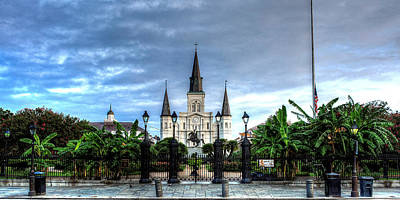 Cloudy Morning At  St. Louis Cathedral Print by Chrystal Mimbs
