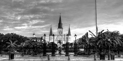 Cloudy Morning At  St. Louis Cathedral In Black And White Print by Chrystal Mimbs