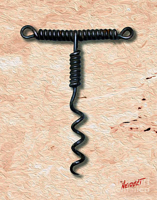 Cabernet Mixed Media - Clough Single Wire Corkscrew Painting 3 by Jon Neidert