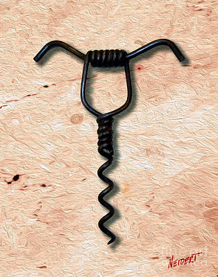 Cabernet Mixed Media - Clough Single Wire Corkscrew Painting 4 by Jon Neidert