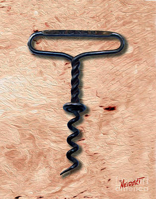 Cabernet Mixed Media - Clough Single Wire Corkscrew Painting 5 by Jon Neidert