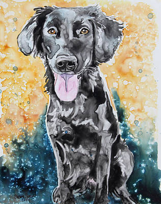 Black Lab Watercolor Painting - Clover by Shaina Stinard