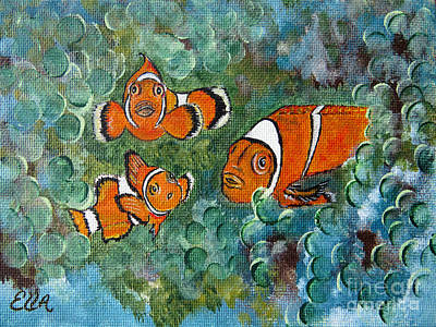 Clown Fish Art Original Tropical Painting Print by Ella Kaye Dickey