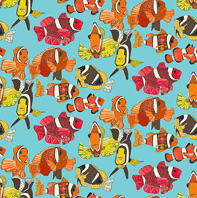 Clown Fish Drawing - Clown Fish Blue by Sharon Turner