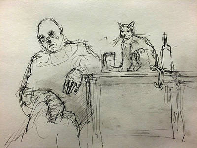 Depression Drawing - Clown With Cat And Whiskey by H James Hoff