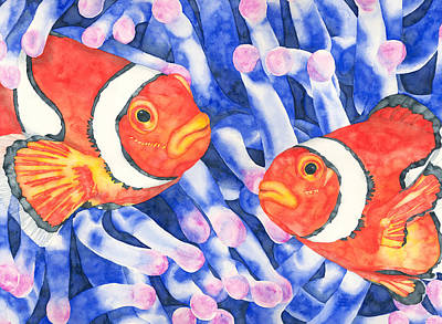 Anemonefish Painting - Clownfish Couple by Pauline Jacobson