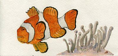 Anemone Painting - Clownfish  by Juan  Bosco