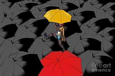 Surrealistic Digital Art - Clowning On Umbrellas 01 - A11 by Variance Collections