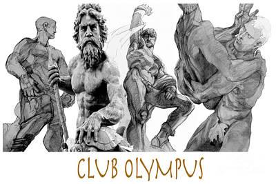 Statue Portrait Drawing - Club Olympus by Greta Corens