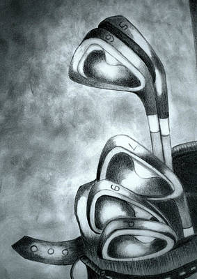 Golf Drawing - Clubs by Jalal Gilani