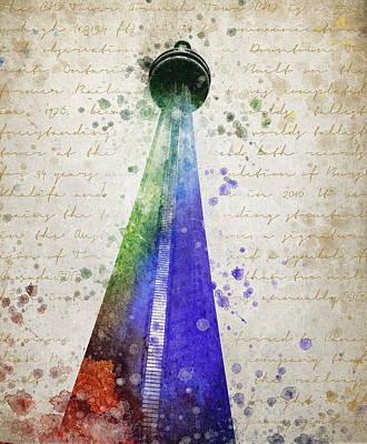 Wonders Of The World Digital Art - Cn Tower Toronto by Aged Pixel