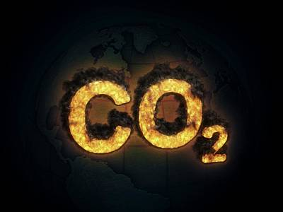 Co2 Photograph - Co2 Symbol Burning by Andrzej Wojcicki