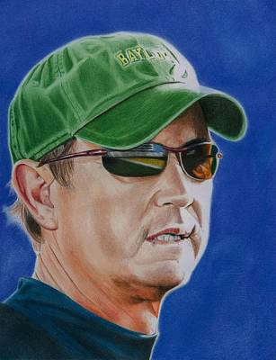 Harvard Drawing - Coach Art Briles by Brian Broadway