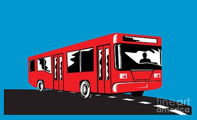 Coach Bus Shuttle Retro Print by Aloysius Patrimonio