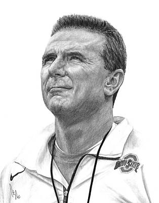 Duke Drawing - Coach Meyer by Bobby Shaw