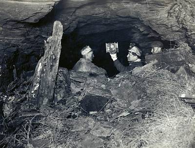 Coal Miners With A Canary Print by Miriam And Ira D. Wallach Division Of Art, Prints And Photographs/new York Public Library