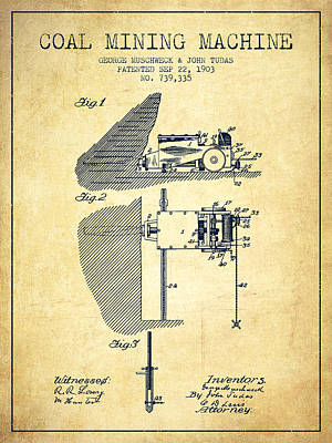 Miner Drawing - Coal Mining Machine Patent From 1903- Vintage by Aged Pixel