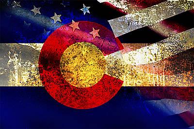 Waving Flag Mixed Media - Coamerican Flag by Tracy E Clark