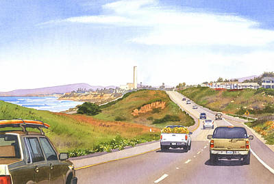 Suburban Painting - Coast Hwy 101 Carlsbad California by Mary Helmreich