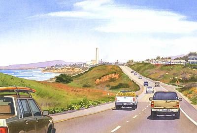 Traffic Painting - Coast Hwy 101 Carlsbad California by Mary Helmreich