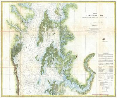 Wall Chart Photograph - Coast Survey Chart Or Map Of The Chesapeake Bay by Paul Fearn