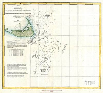 Coast Survey Map Of Nantucket And The Davis Shoals Print by Paul Fearn