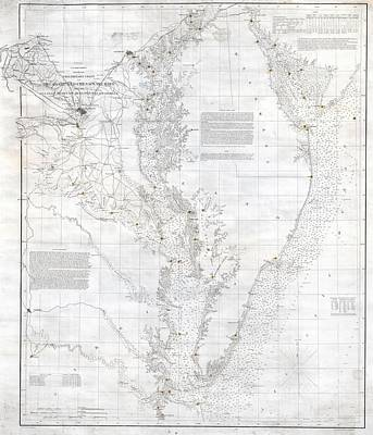 Wall Chart Photograph - Coast Survey Nautical Chart Or Map Of The Chesapeake Bay by Paul Fearn