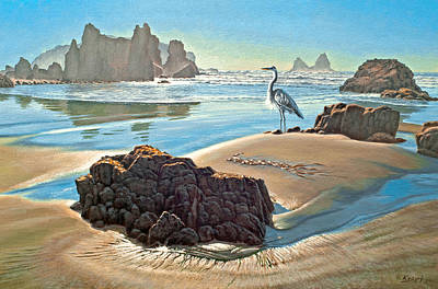 Coast With Great Blue Heron Print by Paul Krapf