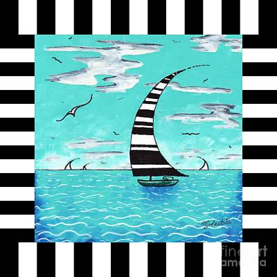 Coastal Nautical Decorative Art Original Painting With Stripes Refreshing By Madart Print by Megan Duncanson