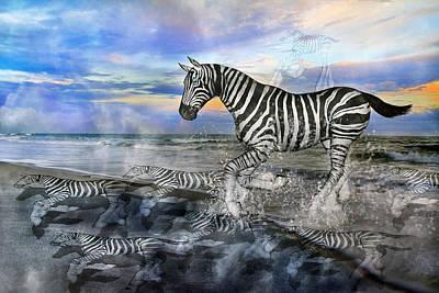 Zebra Mixed Media - Coastal Stripes I by Betsy C Knapp