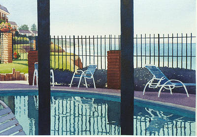 Swimming Pool Painting - Coastal Swimming Pool by Mary Helmreich