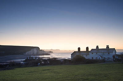 Coastgard Cottages At Seaford With Seven Sisters In Background Print by Matthew Gibson